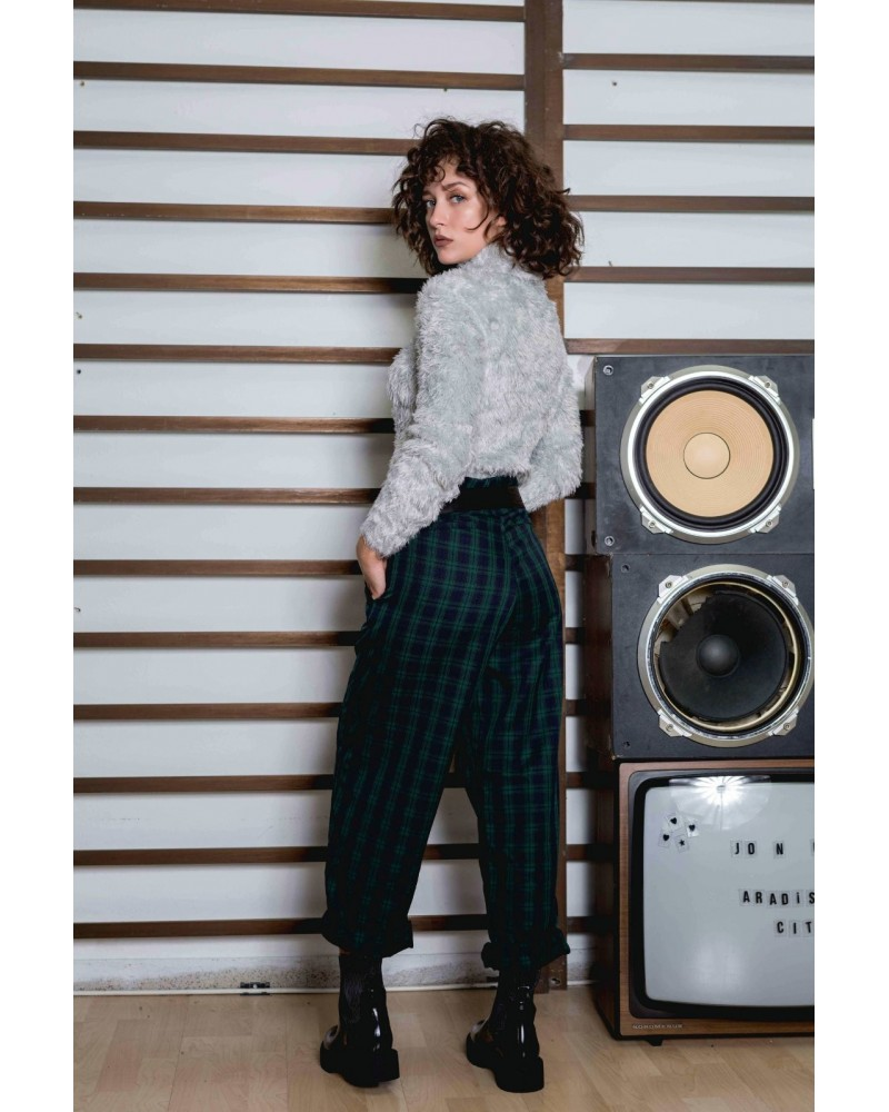 chic habit high waist checked trousers