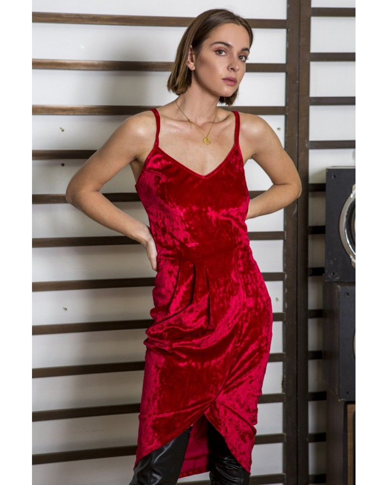 chic habit EVE red velvet dress