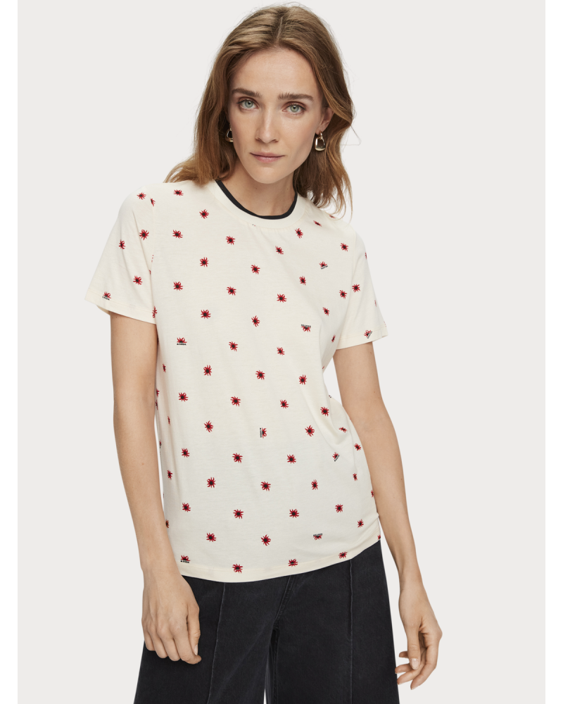 Scotch and soda Cotton-blend seasonal print short sleeve t-shirt