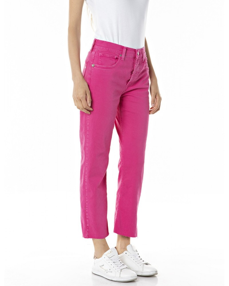 replay ROSE LABEL CROP STRAIGHT FIT MAIJKE JEANS