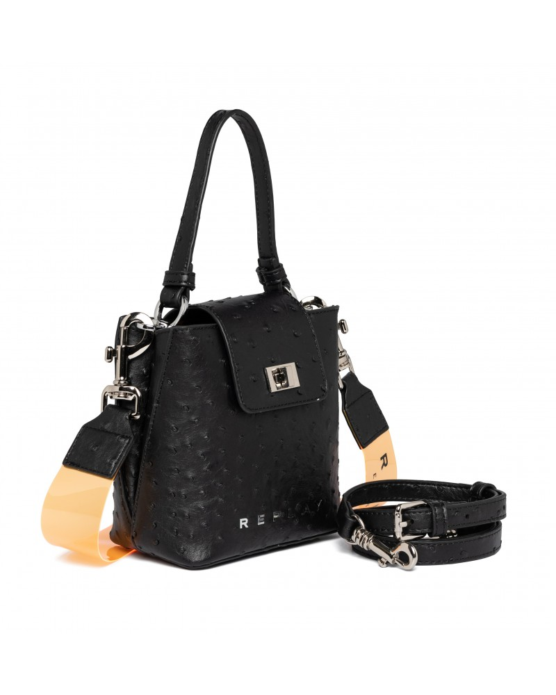 REPLAY HANDBAG WITH OSTRICH EFFECT